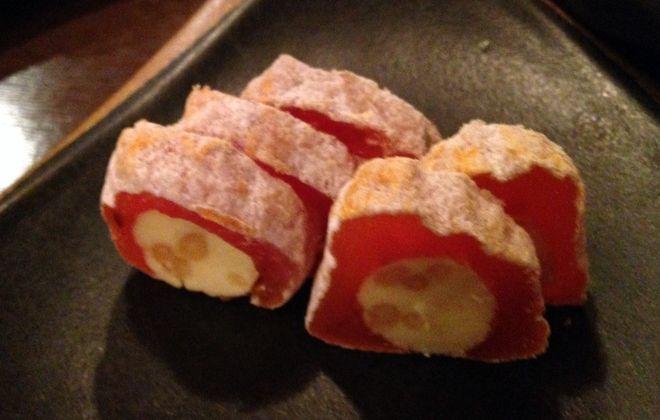 精力アップレシピ|松の実バターの干し柿